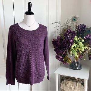 Talbots Purple Cable Knit Sweater